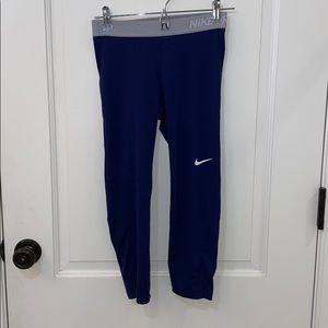 Blue and grey cropped nike pro leggings